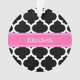 Black White Moroccan #5 Hot Pink #2 Name Monogram Ornament