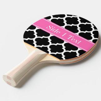 Black White Moroccan #5 Hot Pink #2 Name Monogram Ping-Pong Paddle
