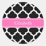 Black White Moroccan #5 Hot Pink #2 Name Monogram Classic Round Sticker
