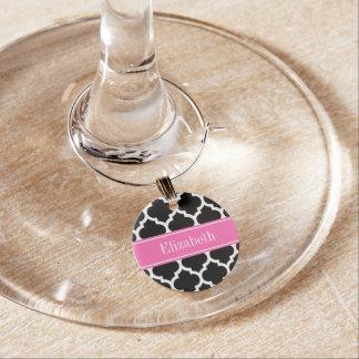 Black White Moroccan #5 Hot Pink #2 Name Monogram Wine Glass Charm