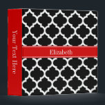 """Black White Moroccan #5 Red Name Monogram Binder<br><div class=""""desc"""">Black and White Moroccan Quatrefoil Trellis Pattern #5, Red Ribbon Name Monogram Label Customize this with your name, monogram or other text. You can also change the font, adjust the font size and font color, move the text, add additional text fields, etc Please note that this is a digitally created...</div>"""