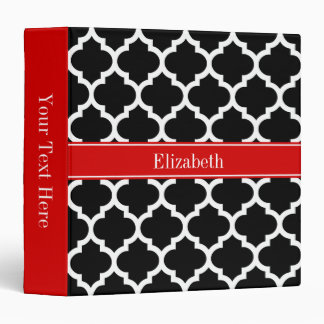 Black White Moroccan #5 Red Name Monogram Binder