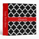 Black White Moroccan #5 Red Name Monogram Binders