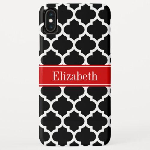 Black White Moroccan #5 Red Name Monogram Phone Case