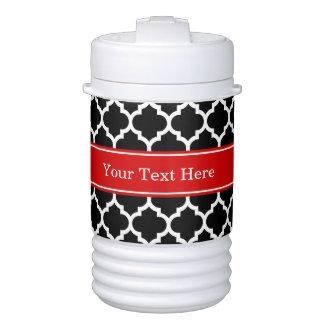 Black White Moroccan #5 Red Name Monogram Igloo Beverage Dispenser