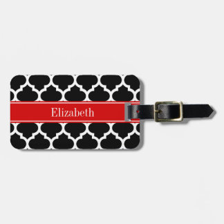 Black White Moroccan #5 Red Name Monogram Luggage Tag