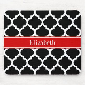 Black White Moroccan #5 Red Name Monogram Mouse Pad