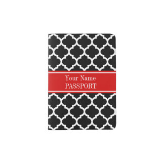 Black White Moroccan #5 Red Name Monogram Passport Holder