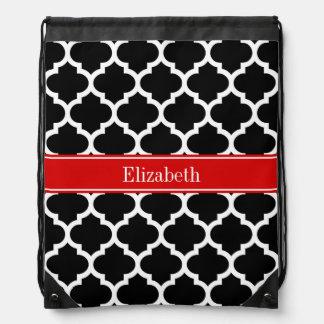 Black White Moroccan #5 Red Name Monogram Drawstring Bag