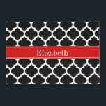 """Black White Moroccan #5 Red Name Monogram Placemat<br><div class=""""desc"""">Black and White Moroccan Quatrefoil Trellis Pattern #5, Red Ribbon Name Monogram Label Customize this with your name, monogram or other text. You can also change the font, adjust the font size and font color, move the text, add additional text fields, etc Please note that this is a digitally created...</div>"""