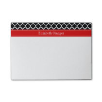 Black White Moroccan #5 Red Name Monogram Post-it Notes