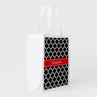 Black White Moroccan #5 Red Name Monogram Reusable Grocery Bag