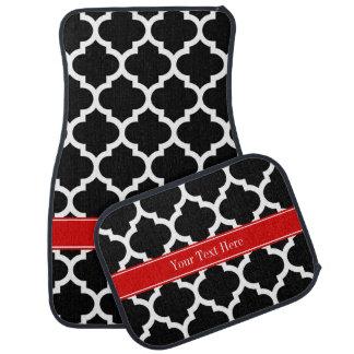Black White Moroccan #5 Red Name Monogram Car Mat