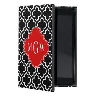 Black White Moroccan #6 Red 3 Initial Monogram Case For iPad Mini