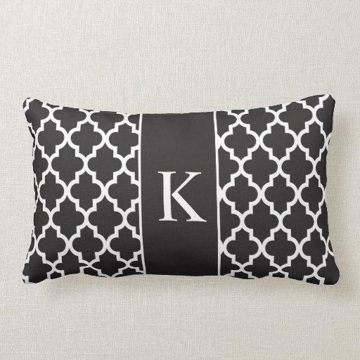 Black White Moroccan Custom Monogram Pillow