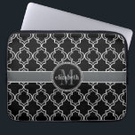 "Black White Moroccan Quatrefoil Monogram Laptop Sleeve<br><div class=""desc"">Elegant and sophisticated Moroccan quatrefoil style tile in tile pattern for you to personalize with your first name and last initial.  Shown here in black,  white and charcoal gray,  this design was created by Holiday Hearts Designs for HHTrendyCases.</div>"