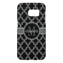 Black White Moroccan Quatrefoil Monogram Samsung Galaxy S7 Case