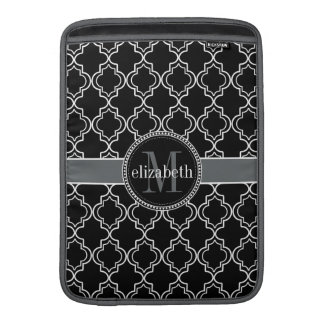 Black White Moroccan Quatrefoil Monogram Sleeve For MacBook Air