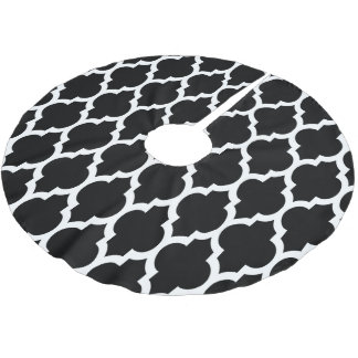 Black White Moroccan Quatrefoil Pattern #4 Brushed Polyester Tree Skirt