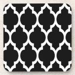 Black White Moroccan Quatrefoil Pattern #4 Drink Coaster