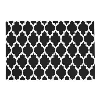 Black White Moroccan Quatrefoil Pattern #4 Placemat