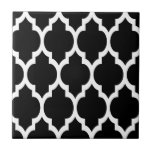 """Black White Moroccan Quatrefoil Pattern #4 Tile<br><div class=""""desc"""">Black and White Moroccan Quatrefoil Lattice Pattern #4    You can customize this with your own text and / or images if you so choose to make your own unique design.    If you would like this design in other colors,  just drop us an email.    2014 &#169;FantabulousPatterns All rights reserved</div>"""