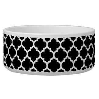 Black White Moroccan Quatrefoil Pattern #5 Bowl