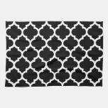 Black White Moroccan Quatrefoil Pattern #5 Hand Towel