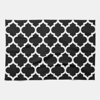 black white moroccan quatrefoil pattern 5 kitchen towel