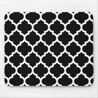 Black White Moroccan Quatrefoil Pattern #5 Mouse Pad