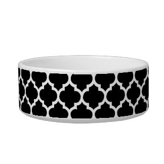 Black White Moroccan Quatrefoil Pattern #5 Pet Water Bowls