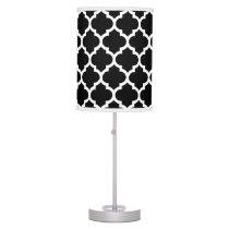 Black White Moroccan Quatrefoil Pattern #5 Table Lamp