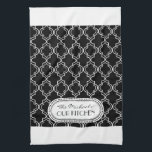 "Black | White Moroccan Trellis Monogram Hand Towel<br><div class=""desc"">Stylish black and white Moroccan lattice or trellis style pattern. Some items in this design collection can be personalized with your intiial or name and/or other text in the fields provided. Other color combinations are available upon request. If you like this pattern, but don&#39;t see what you&#39;re looking for colorwise...</div>"
