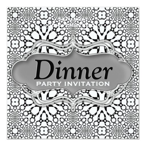 Black White Moroccan Tribal Dinner Party Invite