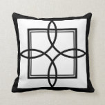 Black White Motif Graphic Design Throw Pillow