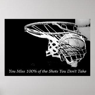 Black White Motivational Basketball Poster
