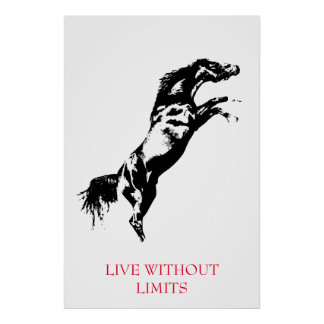Black White Motivational Horse Live Without Limits Poster