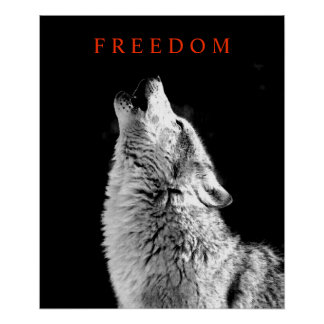 Black White Motivational Howling Wolf Poster