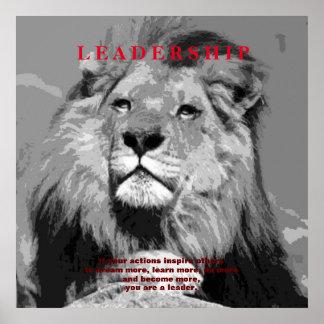 Black White Motivational Leadership Lion Poster