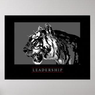Black White Motivational Leadership Tiger Poster