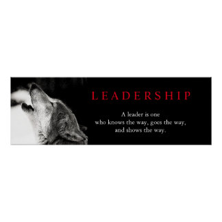 Black White Motivational Leadership Wolf Poster