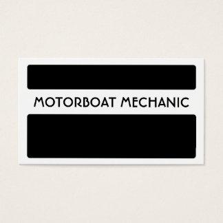 Black white motorboat mechanic business cards