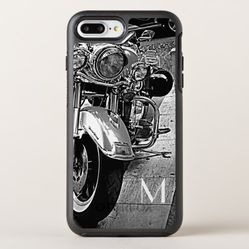 Black&white motorcycle -add monogram OtterBox symmetry iPhone 8 plus/7 plus case