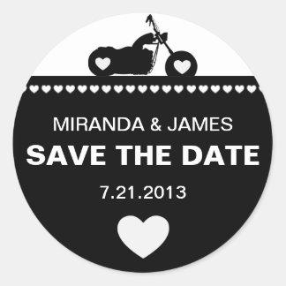 Black & White Motorcycle Biker Save the Date Stick Round Sticker