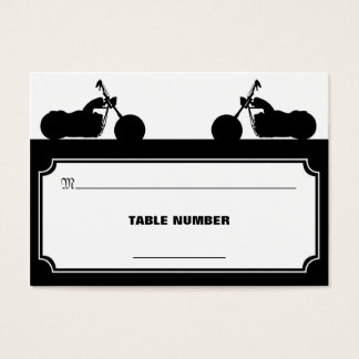 Black White Motorcycle Biker Silhouette Placecards Business Card