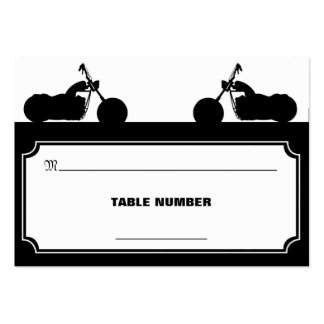 Black White Motorcycle Biker Silhouette Placecards Business Card Template