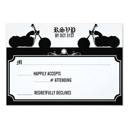 Black & White Motorcycle Biker Silhouette rsvp Card