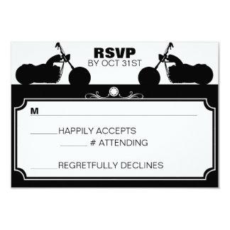 "Black & White Motorcycle Biker Silhouette rsvp 3.5"" X 5"" Invitation Card"