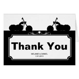 Black White Motorcycle Biker Silhouette Thank You Stationery Note Card