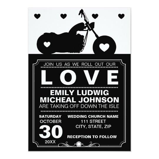 Black & White Motorcycle Biker Silhouette Wedding Card